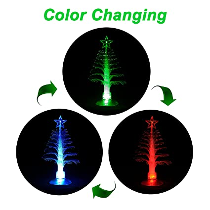 angroc led mini usb powered 7 colors fiber optic seasonal decorative christmas tree with top star