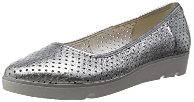 Clarks Evie Buzz Womens Mocassins Grey Silver Leather 35 UK