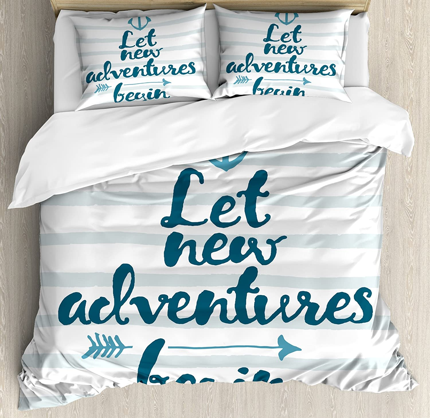Ambesonne Adventure Duvet Cover Set, Nautical Stripes Anchor and Arrow Motivational Text Sea Travel Cruise, Decorative 3 Piece Bedding Set with 2 Pillow Shams, Queen Size, Petrol Blue White