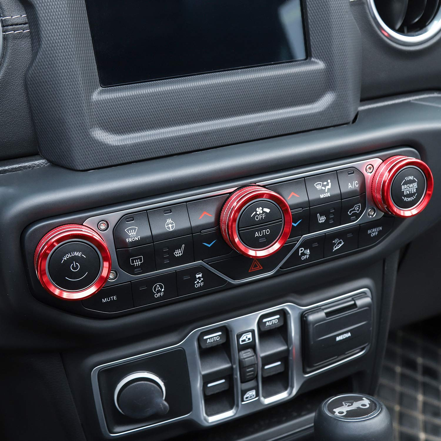 HIGH FLYING for Jeep Wrangler JL Unlimited Rubicon Sahara Sport//Sport S 2018 2019 2020 Car Accessories Dashboard A//C Air Vent Decor Ring Trim ABS Red 4pcs