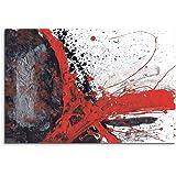 120x 80cm tela stampata rosso nero grigio bianco dipinto