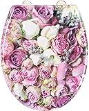 EISL ED69BROSES Bunch Of Roses Abattant WC en Duroplast avec frein de chute/déclipsable