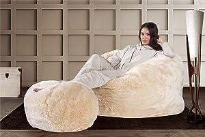 dfd87fb5fec4 Lounge Pug® - CLOUDSAC - Fluffy FAUX FUR - Large Memory Foam GIANT Bean Bag