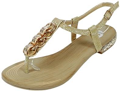 check out bde44 3ef1f Nonnall - Sandale mit großen kleinen Steinen Zehentrenner Goldene  Metall-Applikationen LederOptik Damen Sommer Schuhe 36 37 38 39 40 41