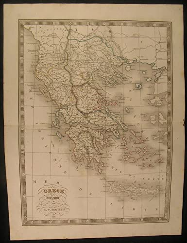 Ancient Greece Map Outline.Amazon Com Ancient Greece Arcadia Attica Crete 1834 Antique