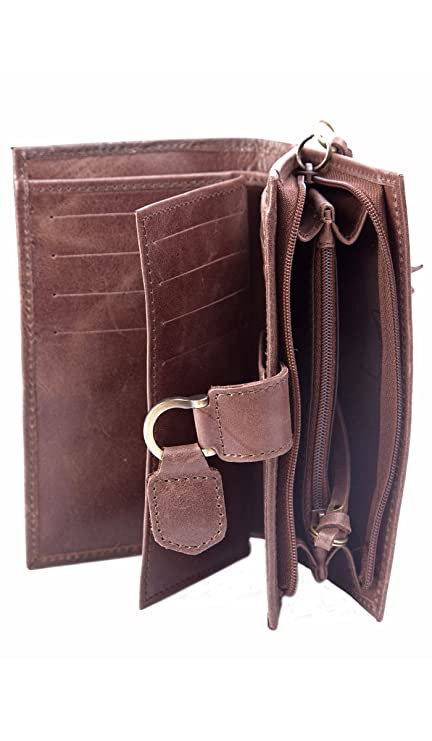 Velez Genuine Full Grain Leather Trifold Wallet for Women Billetera Cuero Mujer