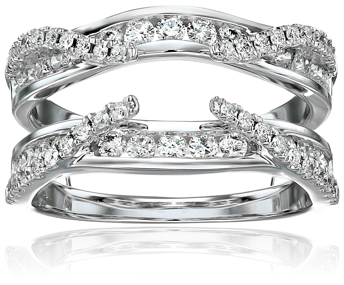 14k White Gold Diamond Solitaire Enhancer Ring (3/4cttw, I Color, I2 Clarity), Size 6