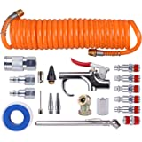 "WYNNsky 1/4"" NPT Air Accessory Kit - 20 Piece, Air Compressor Hose Toolkit with Coil PE Hose/ Blow Gun/ Tire Gauge/Storage Case"