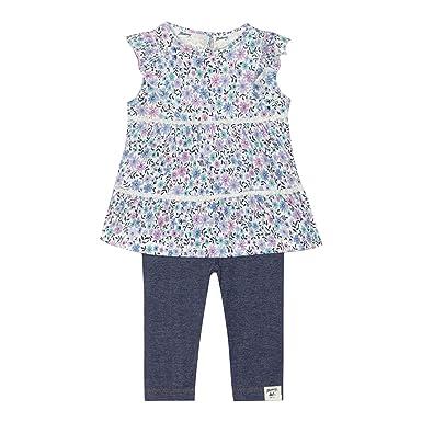 8d12c35d9e7b47 'Baby Girls' Multi-Coloured Floral Print Tunic and Navy Leggings Set 0-