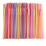 Flexible Straws of 200 pieces, Kinsky Colorful Disposable Extra Long Bendable Plastic Drinking Straws