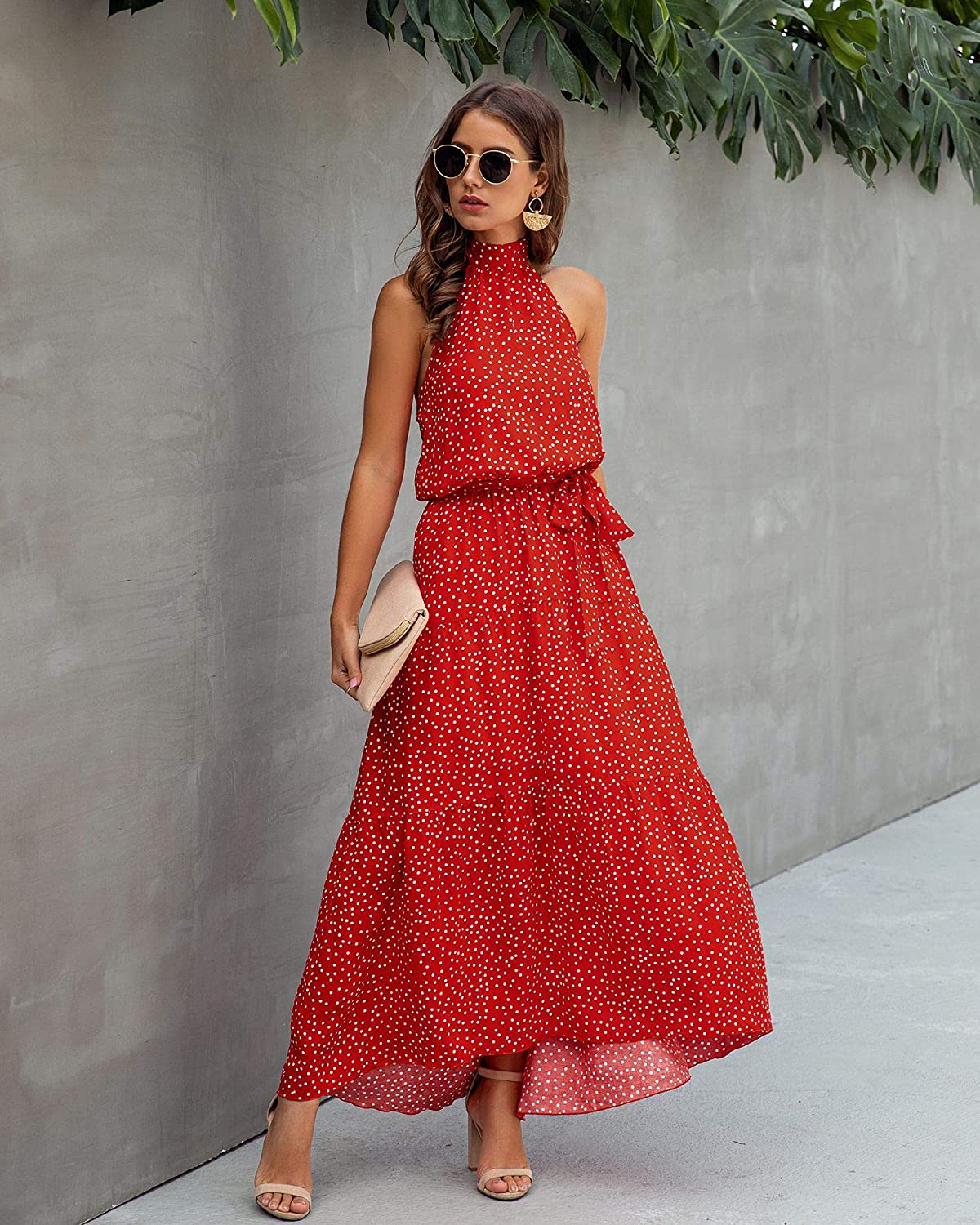Womens Casual Backless Loose Ruffle Sundress Halter Neck Sleeveless Floral Long Maxi Dress with Belt