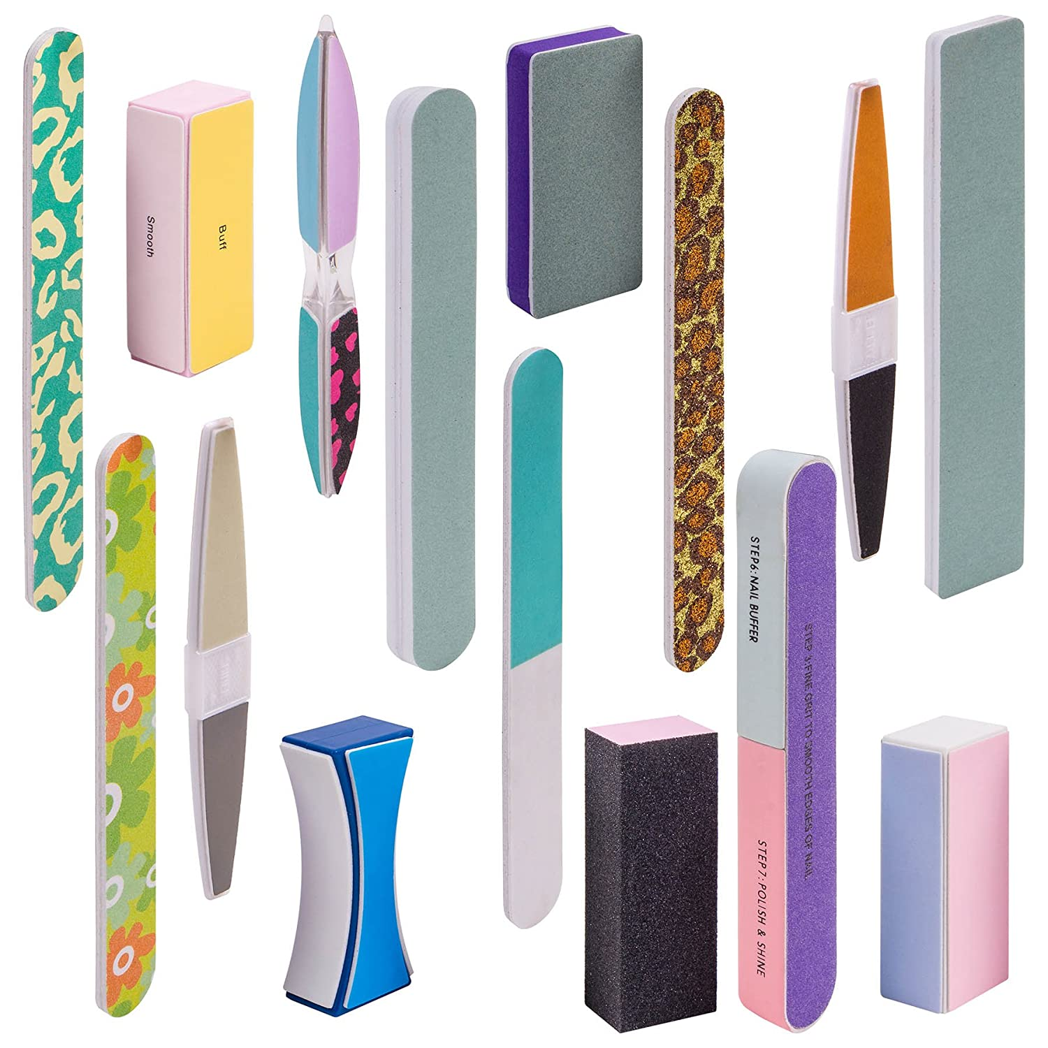 Shany Cosmetics Assorted Nail Buffer Files Blocks Cute Styles, 15 Count SH-NF-SET01
