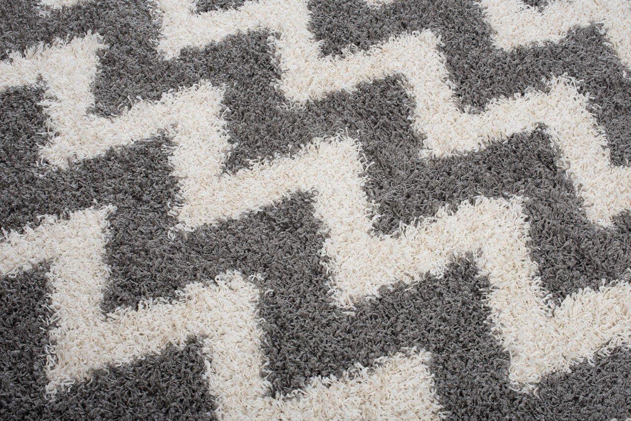 Tapiso Scandinavia Shaggy Shaggy Shaggy Teppich Hochflor   Modern Schwarz Weiss Marrokanisch - Geometrisch im Diamant - Karo Muster   Weich 5 cm Langflor Teppiche für Wohnzimmer   ÖKOTEX 240 x 330 cm B079V24S19 Teppiche 1559d5