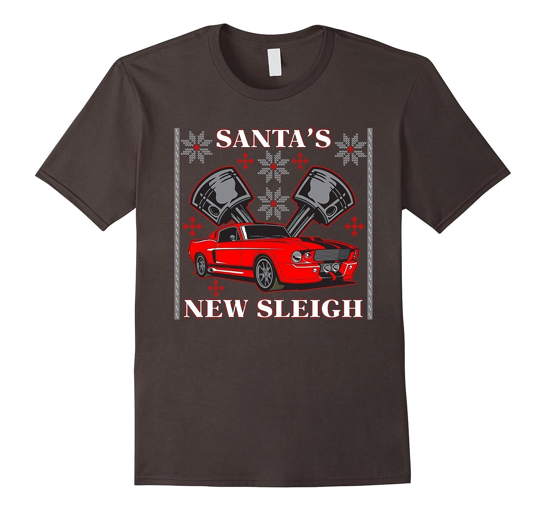 Santa's New Sleigh Muscle Car Ugly Christmas T-shirt