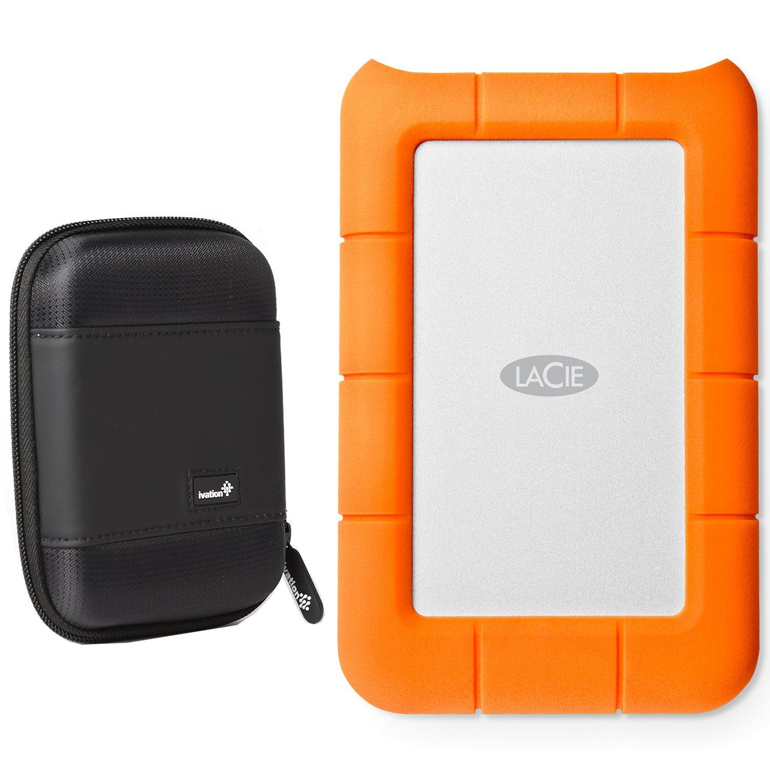 LaCie Rugged Thunderbolt & USB 3.0 2TB 9000489 (LAC9000489) With Ivation Compact Portable Hard Drive Case