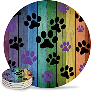 Funny Drink Coasters Dog Paw Prints Rustic Old Barn Wood Absorbent Stone Ceramic Coaster with Cork Back and NO Holder for Cups, Set of 4-Piece, Multi Color