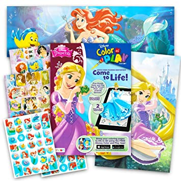Disney Princess Stickers And Poster Activity Book Deluxe Coloring With Over 80