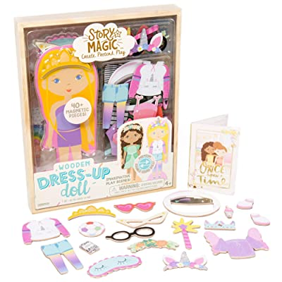 Story Magic Wooden Dress-Up Doll by Horizon Group USA, Dress Up Magnetic Wood Double Sided Doll, Over 40 Outfit and Accessory Pieces, Creative Pretend Play, Perfect for Ages 4+: Toys & Games