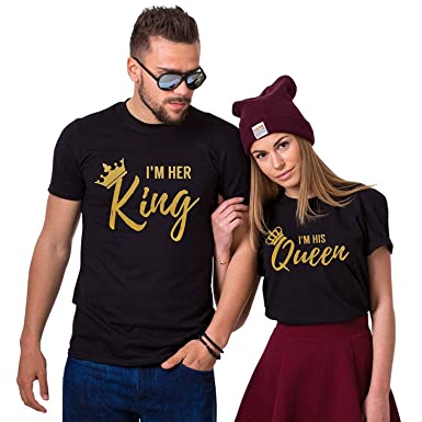 c2ace378d7 I'm Her King I'm His Queen Couples Matching T-Shirts | Amazon.com