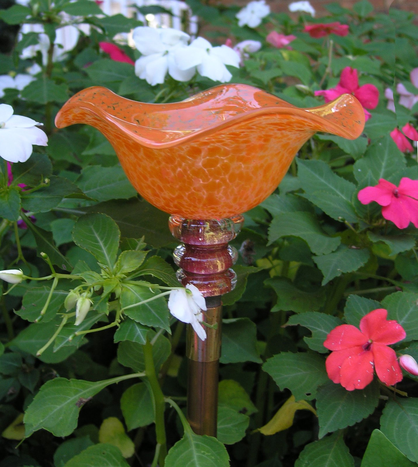 Tangerine Hand Blown Glass Butterfly Feeder with 36'' Copper Stake by Andrew Holmberg