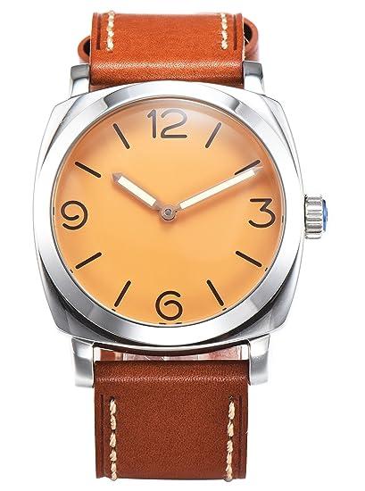PARNIS 9099 clásica cuerda manual para hombre de pulsera de reloj 47 mm Reloj de hombre acero inoxidable 316L Carcasa de piel de pulsera Marca Reloj Seagull ...
