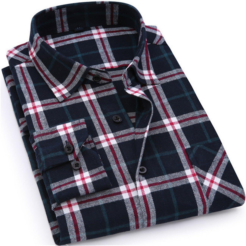 Men Flannel Plaid Shirt Casual Long Sleeve Shirt Soft Slim
