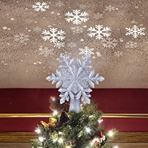 Brightown 9.6 Inch Christmas Snow Tree Topper with Built-in LED Snowflake Projector Lights Hollowed Snowflake Tree Topper with Silver Spangles Plated Plug in for Indoor Outdoor Office Holiday Decor