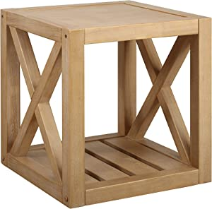 Amazon Brand – Stone & Beam Solid Pine Rustic Farmhouse End Table, 22
