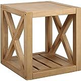 "Amazon Brand – Stone & Beam Solid Pine Rustic Farmhouse End Table, 22""W, Rustic Oak"