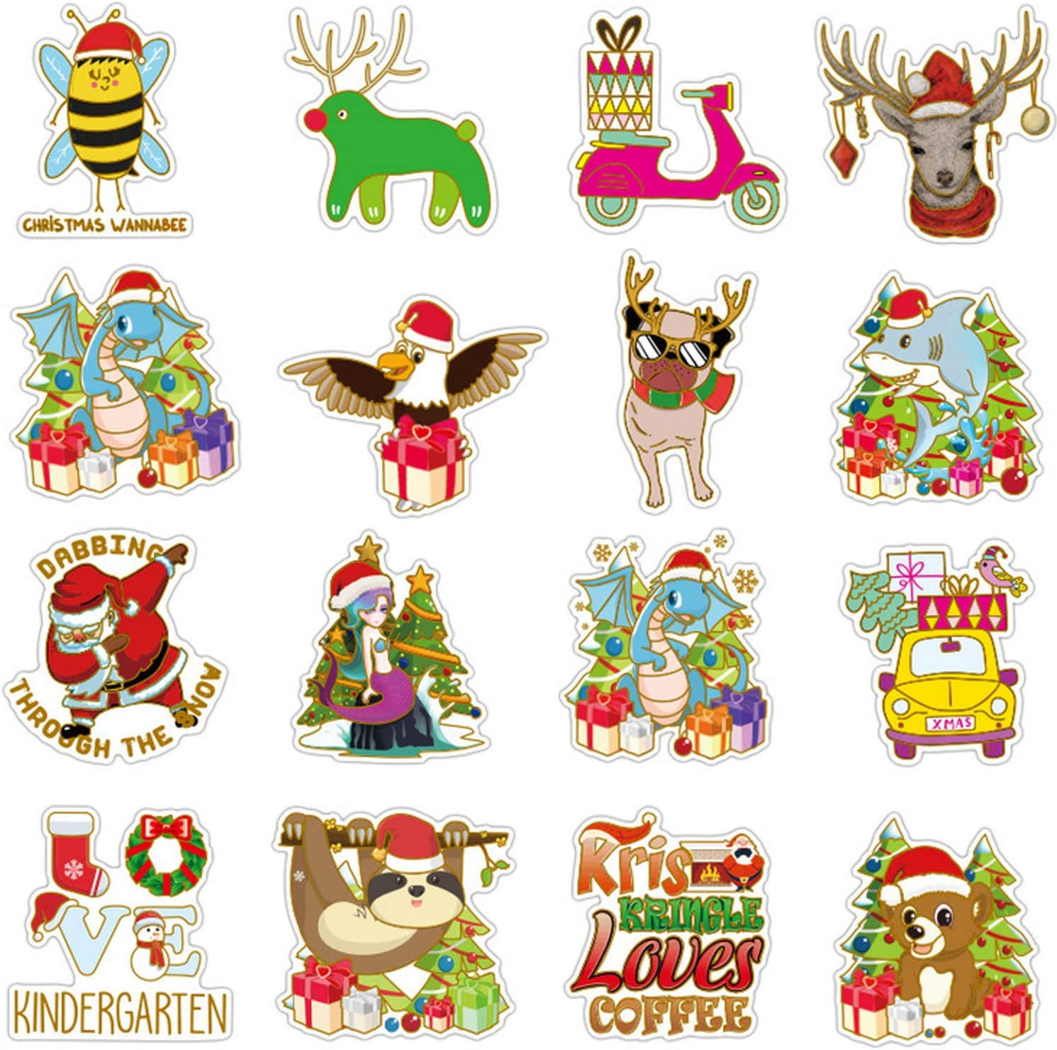 Christmas Window Clings Snowflake Decorations Lovely Merry Christmas Santa Reindeer Gift Graffiti Decals Christmas Window Decorations Party Supplies Christmas stickers for water bottles 52PCS