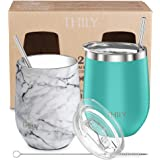 Stainless Steel Stemless Wine Glasses - THILY 12 oz Vacuum Insulated Wine Tumbler with Lids and Straws, Reusable, BPA Free, Keep Cold & Hot for Drinks, Coffee, Cocktails, 2 Pack(Teal + Marble)