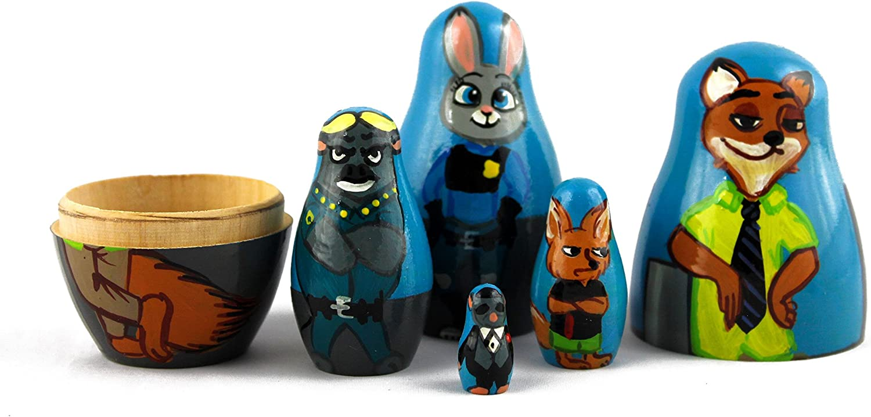 MATRYOSHKA/&HANDICRAFT Nesting Dolls Characters Cartoon Zootopia Set 5 pcs Unique Toys Judy Hopps and Nick Wilde