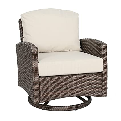 Terrific Ulax Furniture Outdoor Wicker Swivel Club Chair Patio Lounge Chair With Cushion Beige Gmtry Best Dining Table And Chair Ideas Images Gmtryco
