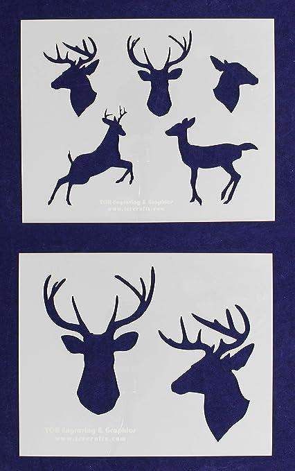 amazon com deer stencils buck and doe 2 piece set 8 x 10 inches