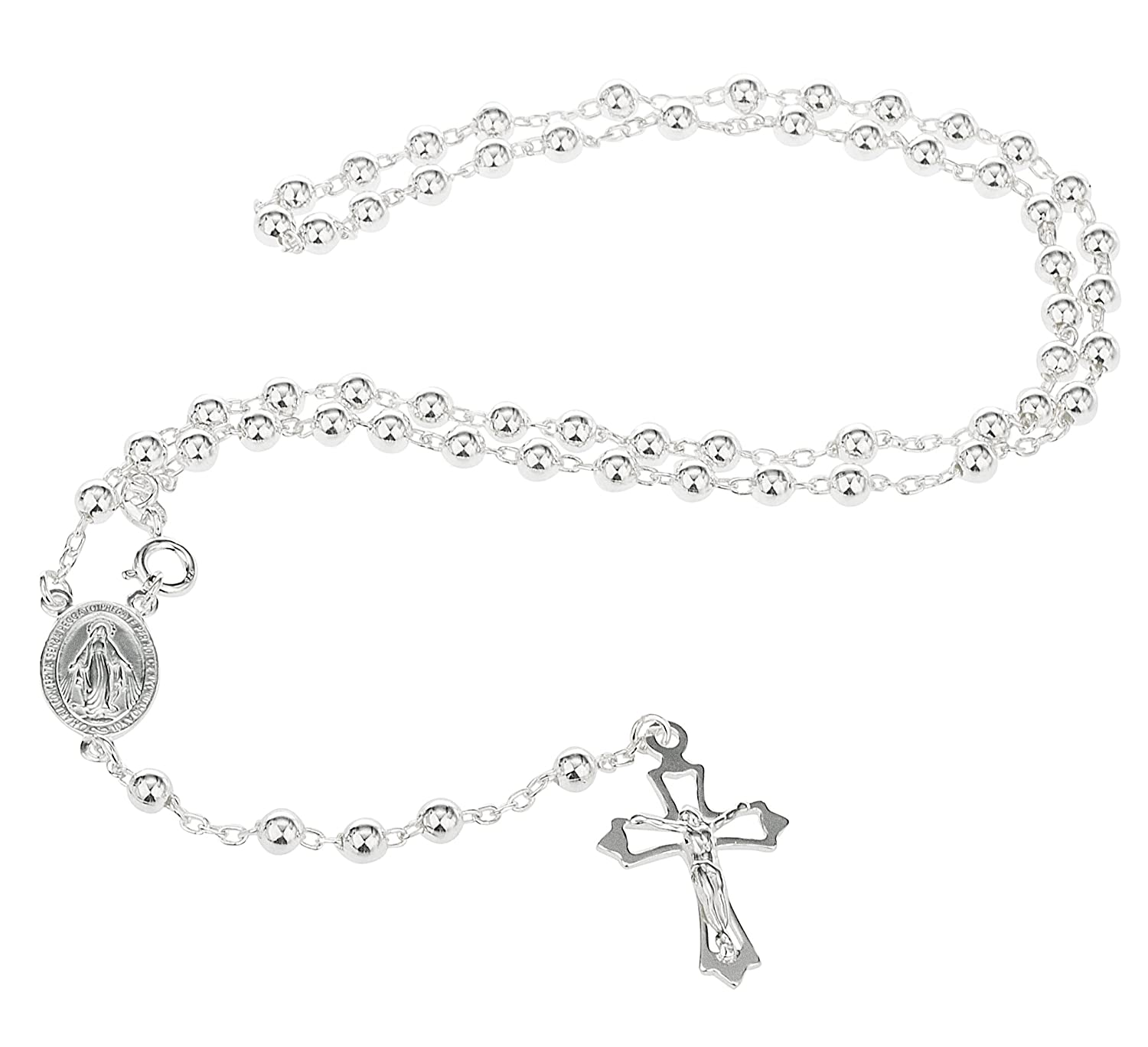 Sterling Silver 4mm 18 Inch Beaded Rosary Necklace with Dangling Cross I-1516