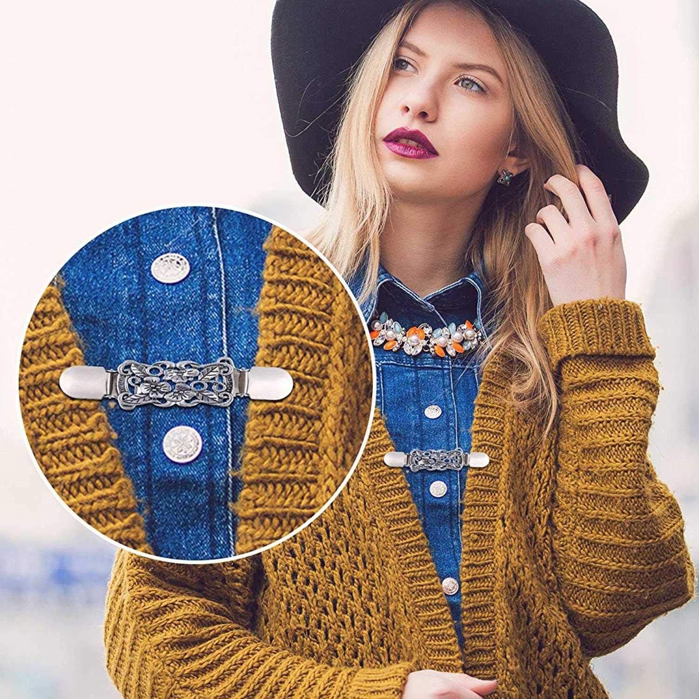 Monland Pinces pour Chale Chandail 3 Pi/èces Robes Clip Cardigan Broche Collier Vintage Clips des Chemises pour Les Femmes et Les Filles