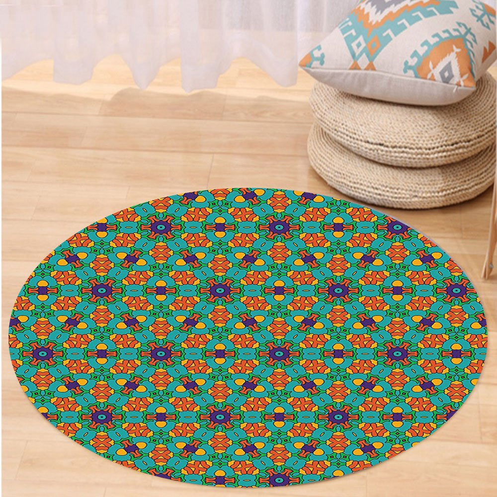 VROSELV Custom carpetOrange Living Room Decor for India Ethnic Design Lovers Floral Print for Bedroom Living Room Dorm Fern Green Marigold and Navy Blue Round 72 inches
