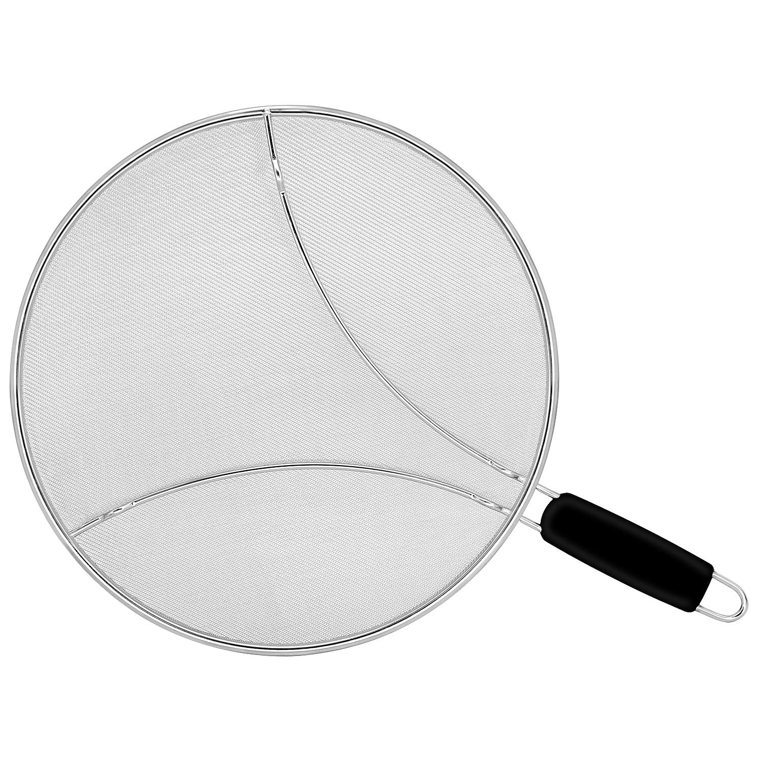 "Oil/Grease Splatter Screen for Fry Pan 13"". Hot Oil Splash Guard, Prevent and Protects Skin from Burns. Splatter Guard for Stove Cooking Keeps Kitchen Clean Stainless Steel Iron Skillet Lid"