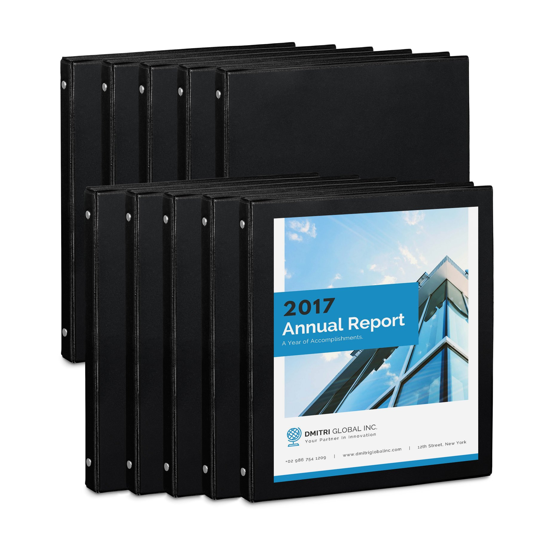 Blue Summit Supplies 10 Pack of 1/2 inch 3-Ring Economy Binders, Black, Bulk Clear Cover Binders for Home, Office, and School, 8 1/2 inch x 11 inch Paper, Value Pack