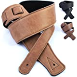 Real Leather Guitar Strap: Ultrasoft/padded, UK made 130cm Electric Acoustic (Honey)