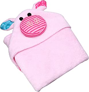ZOOCCHINI Baby Animal Face Hooded Bath Towel, Newborn to 18 Months, 30 x 30