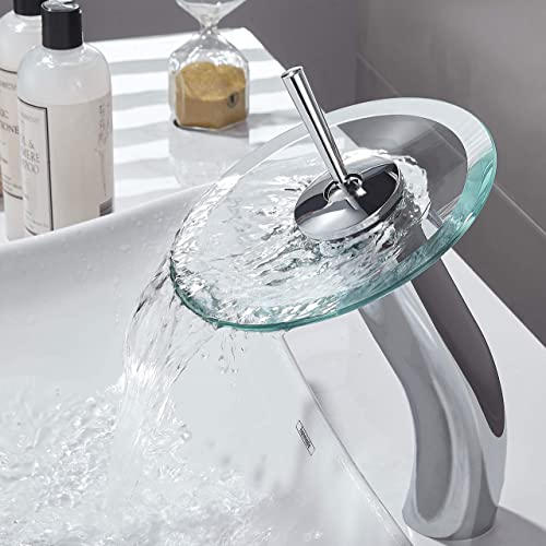RODDEX Waterfall Bathroom Faucet Glass Single Handle Solid Brass Basin Lavatory Vessel Sink Vanity Faucet, Tall, Blue Polished Chrome
