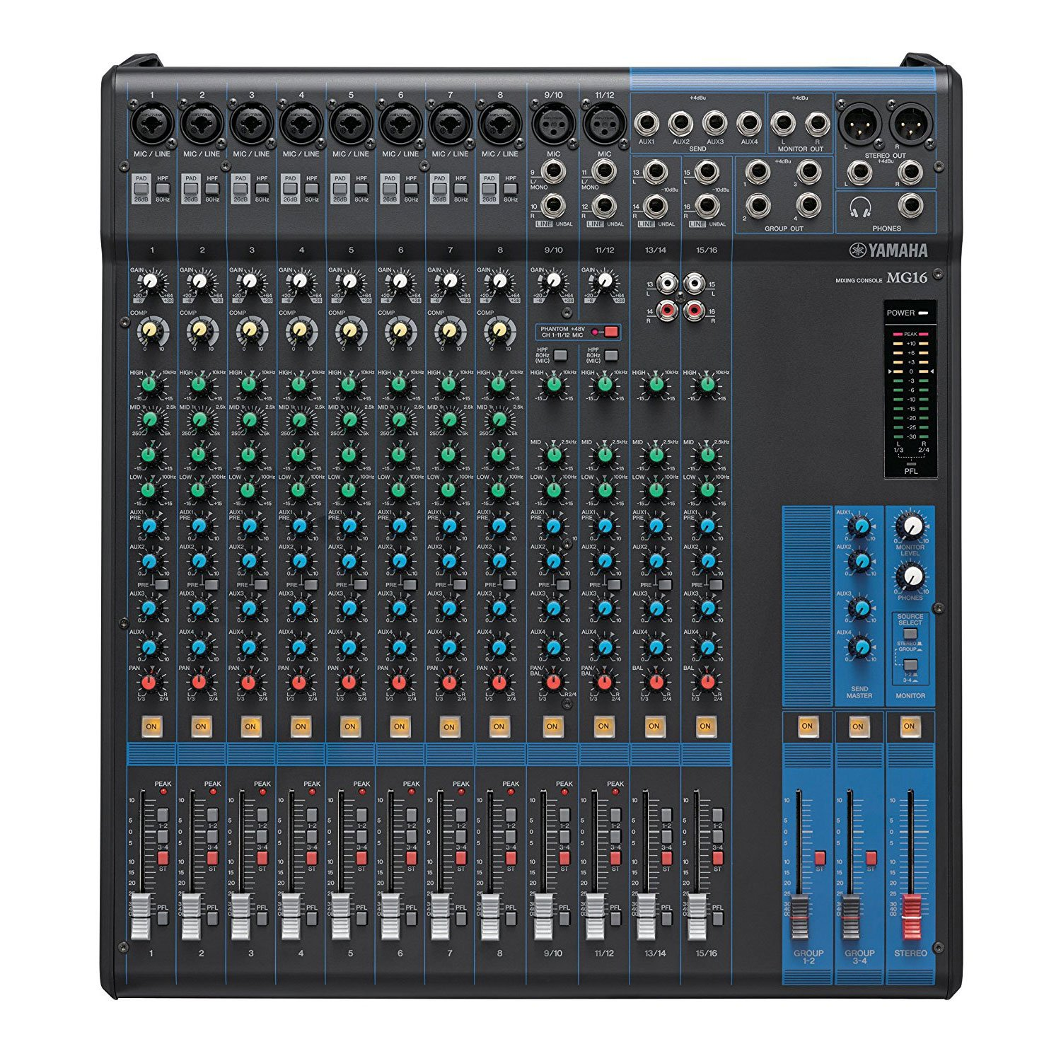 EQ Yamaha MG12 Analog 12 Channel Audio Mixer with 6 Microphone Preamps 4 Dedicated Stereo Line Channel 2 Aux Sends Mixer Bundle 1-knob Compressors with 4 Mixer Cable and Zorro Sounds Mixer Cloth
