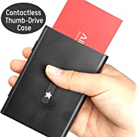 Non-Contact Business Card Holder, Premium Thumb-drive Metal Business Card Case Stainless Steel Card Holder Pocket Card Case Excellent Design for Men and Women