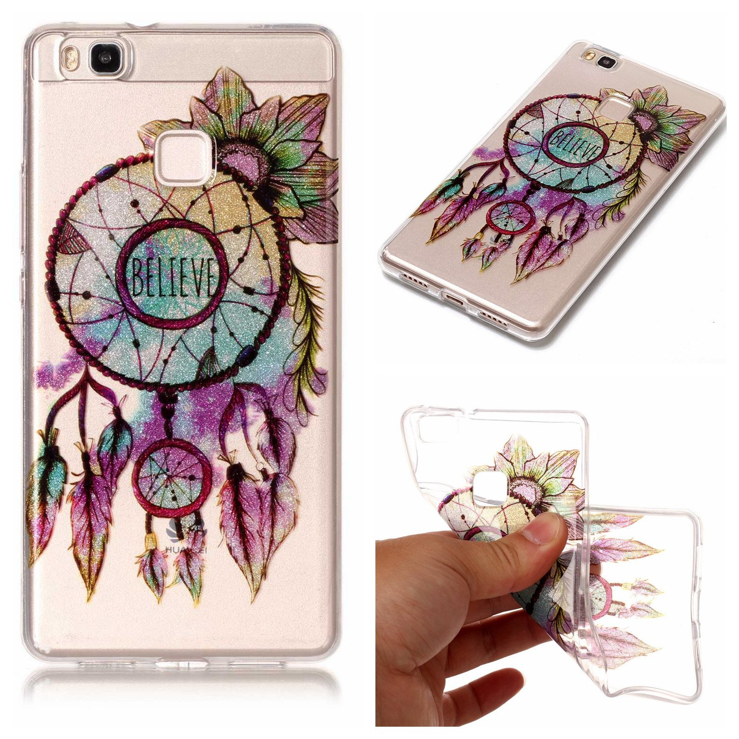 Aipyy Huawei P9 Lite Case,Transparent Pattern Soft TPU material back cover case for Huawei P9 Lite-Flower campanula