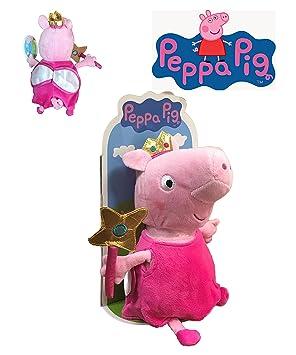 Peppa Pig - Peluche Peppa disfrazada de hada con varita y alas 27cm Blister - Calidad