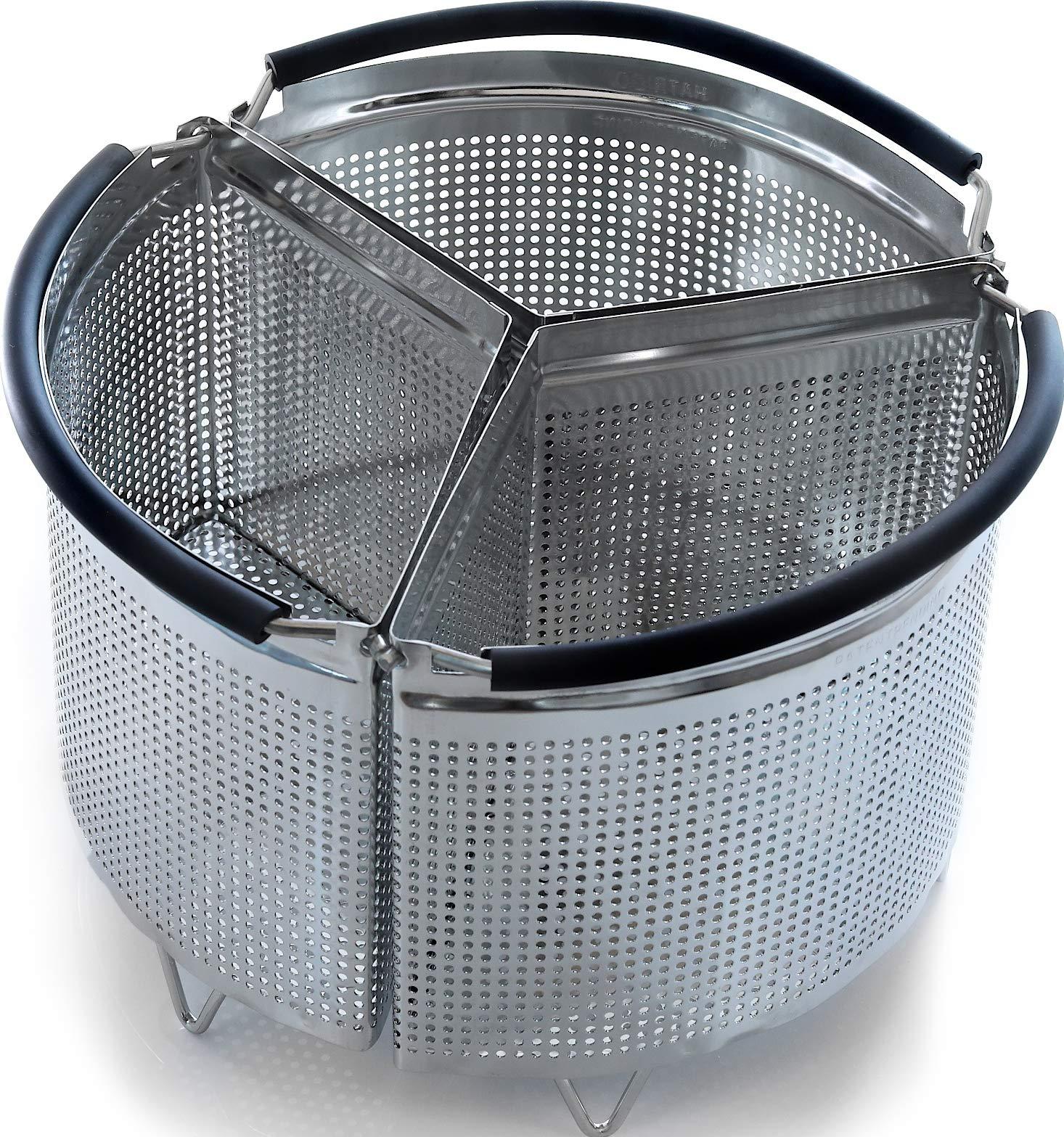 Hatrigo 3-Piece Instant Pot Accessories 6 qt Divider Steamer Basket, Fits InstaPot 6 qt, Insta Pot 6 qt Ultra Vegetable Steamer Pot, Egg Basket, Pasta Strainer, Silicone Handle (Instant Pot 6 Quart)