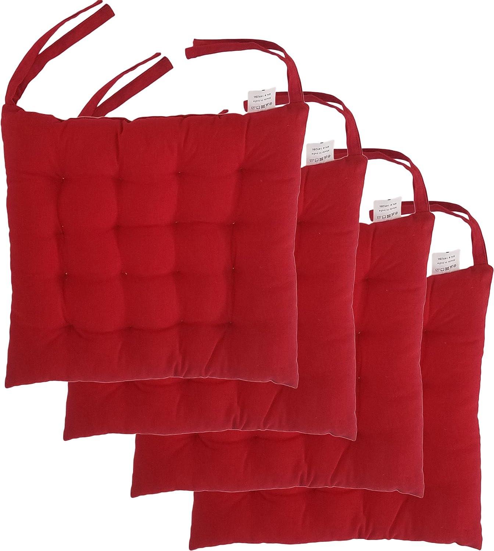 Cojines para sillas de algodón 100% con lazos (4 unidades ...