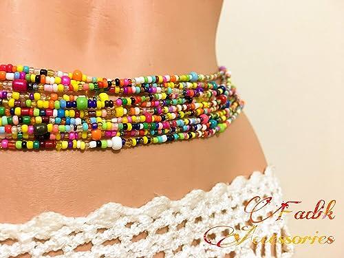 Waist Band  10 Strand waist beads set Black Belly Chain Lady Love  both Waist and Neck Black beads set waist bend Belly bend
