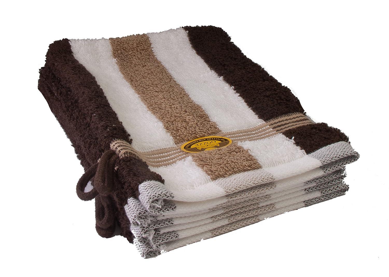Gözze 555-9600-A1 - Juego de toallas de mano (4 unidades, 17 x 21 cm, 100% algodón de alta calidad, 550 g/m², con OEKO-Tex 100 Standard), color marrón, blanco y beige